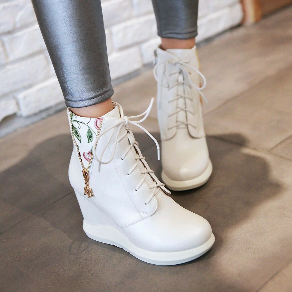 Women Wedge High Heel Lace Up Floral Ankle Chelsea Boots Round Toe High Top shoes