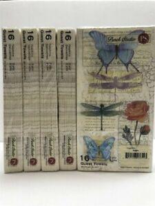 Lot-of-5-Punch-Studio-Guest-Towels-53651-Dragonflies-16-Towel-Napkins-Set