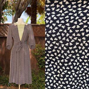 vintage-1940s-dress-Silk-Baby-Chicken-Print-Calico-Black-White-Dress-M
