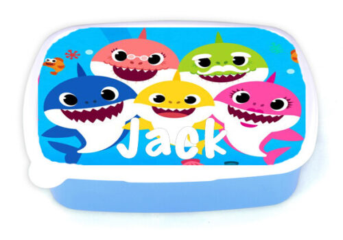 Add Any Name Boys Personalised Baby Shark Children/'s Lunchbox School Picnic