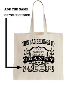 Personalised Tote Shopper Add Name Shopping Gift World/'s Best Granny Bag Grannie