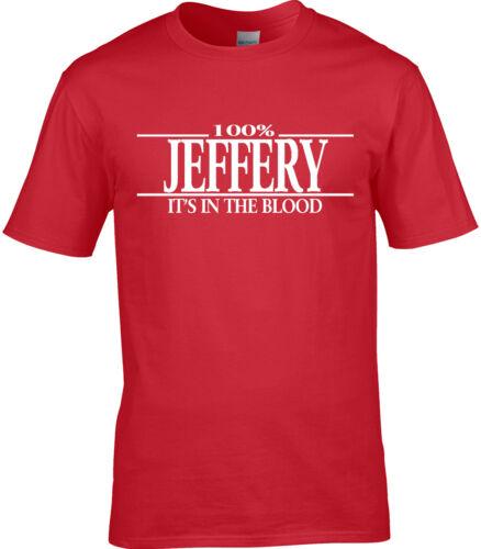Jeffery Surname Mens T-Shirt 100/% Gift Name Family Cool Fun