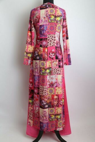 Women/'s Long Hot Pink Co Ba Saigon w// Pants Details about  /Vietnamese Ao Dai