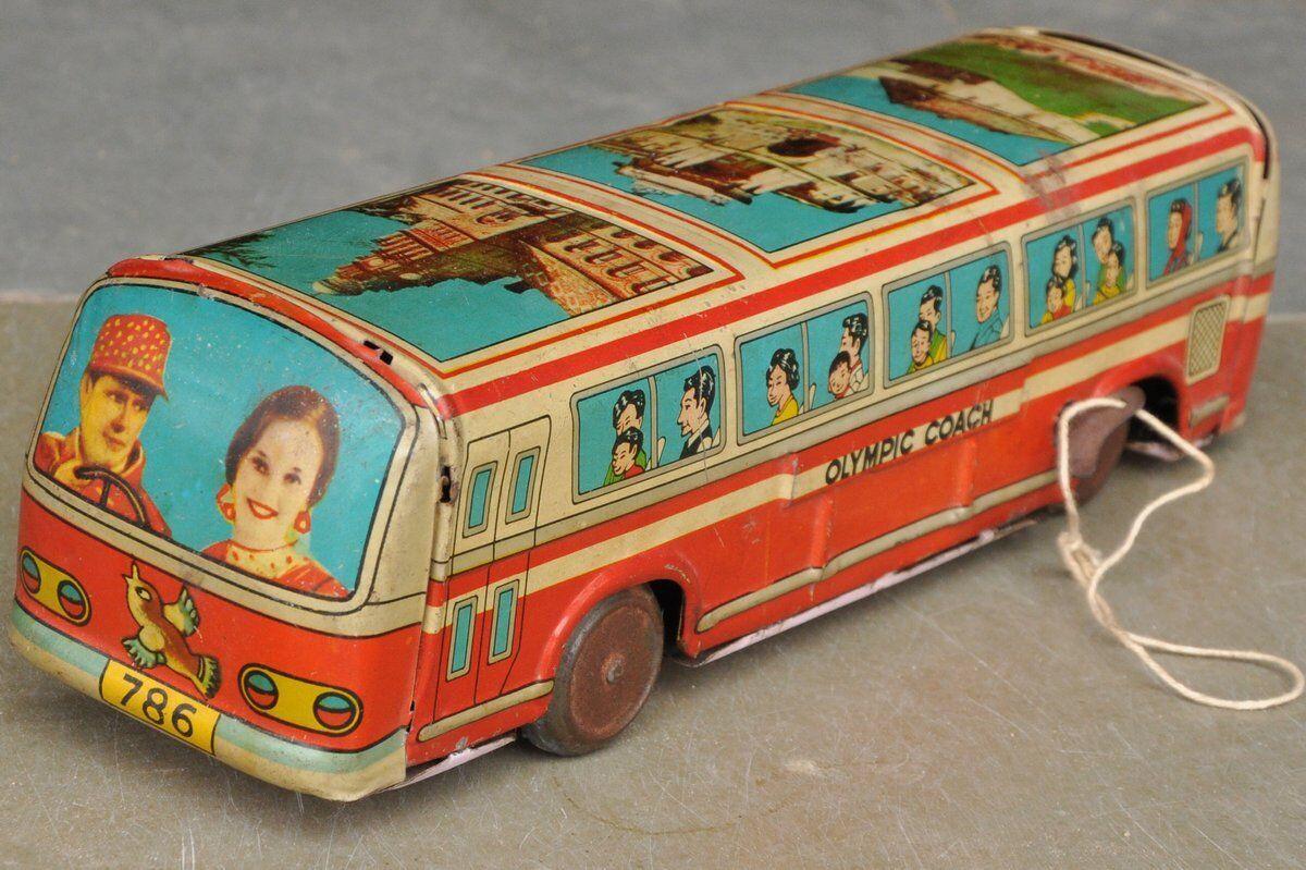 Vintage Wind Up BTI - 1981 olímpico entrenador Litografía pasajero bus de juguete de estaño