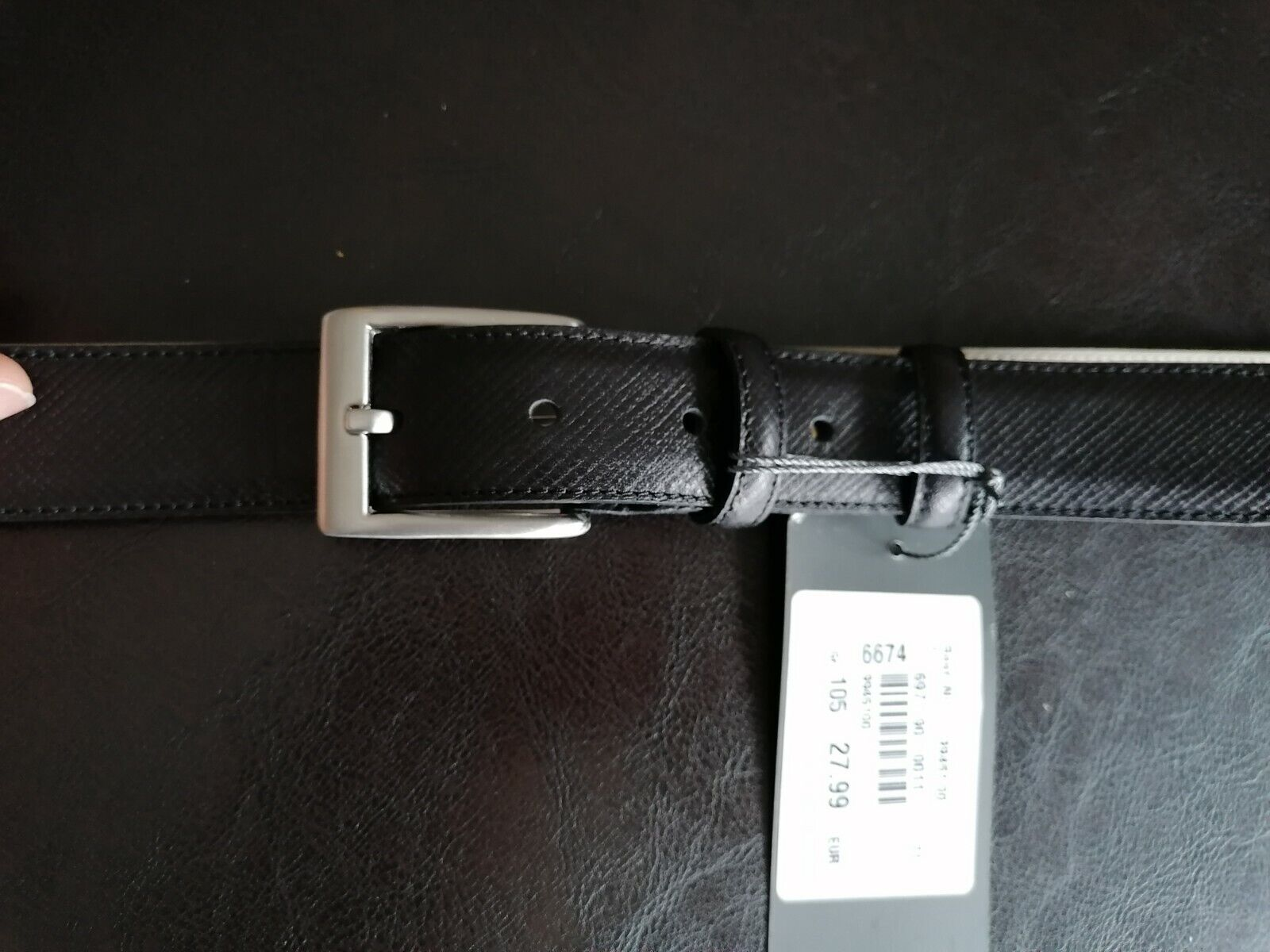 Gol Herren Echt Ledergürtel 105 cm für Anzughose schwarz 3 cm breit