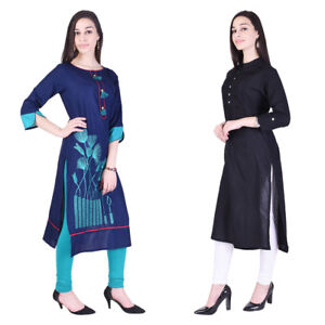 Gorgeous-Women-039-s-Ethnic-Indian-Kurta-Combo-Mix-of-Black-amp-Blue-Pack-of-2-Kurti