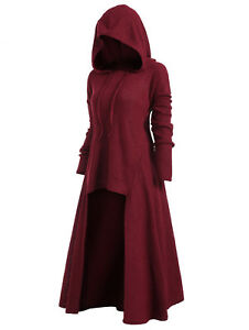 Gothic-Women-Steampunk-Hooded-Sweater-Coat-High-Low-Hem-Plus-Size-Tops-Pullover