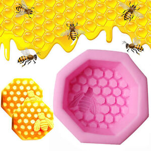Bee-Honeycomb-Craft-Silicone-Soap-Mold-DIY-Icing-Chocolate-Cake-Candle-Mould-GA