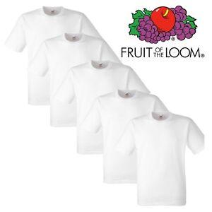 Pack of 1x 2x 3x 5xFruit Of The Loom Kids Boys Girls White T-Shirts Long Sleeve