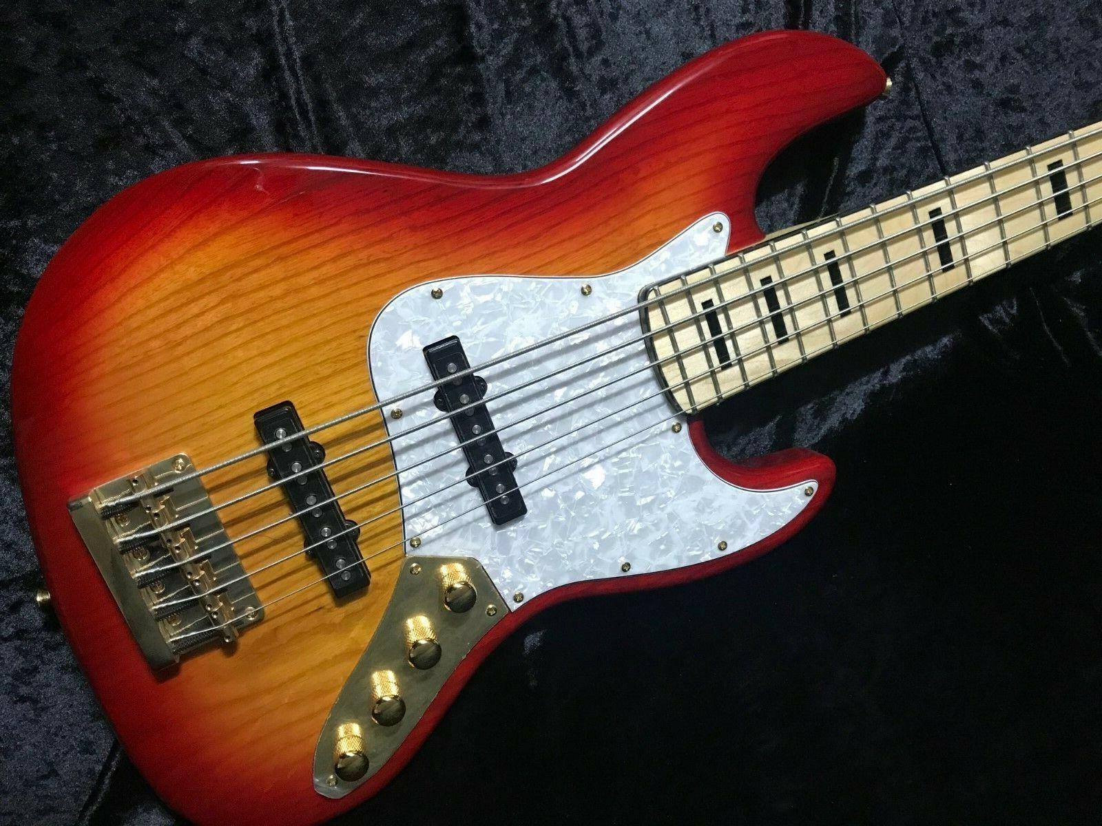 Swing Jazz 5V Cherry Burst 5 Strings Electric Bass Guitar