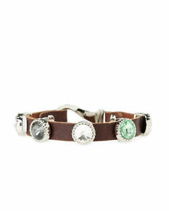 Bracelet-FASHION-Brown-Jewel-Embellished-Leather-Bracelet-NEW