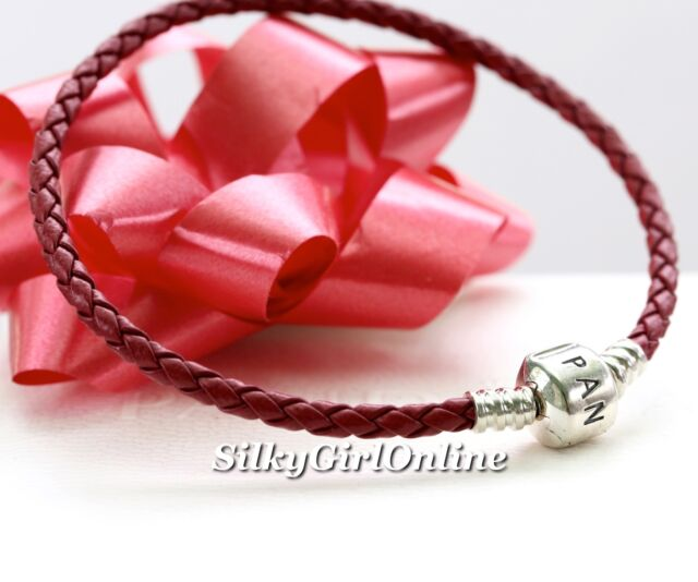 Pandora Single Woven Red Braided Leather Bracelet 590705crd S3 Large 20 5cm