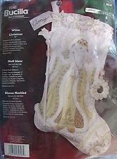 Bucilla 2006 White Christmas Gold & White Santa Felt Stocking Kit 85318 NIP 18in