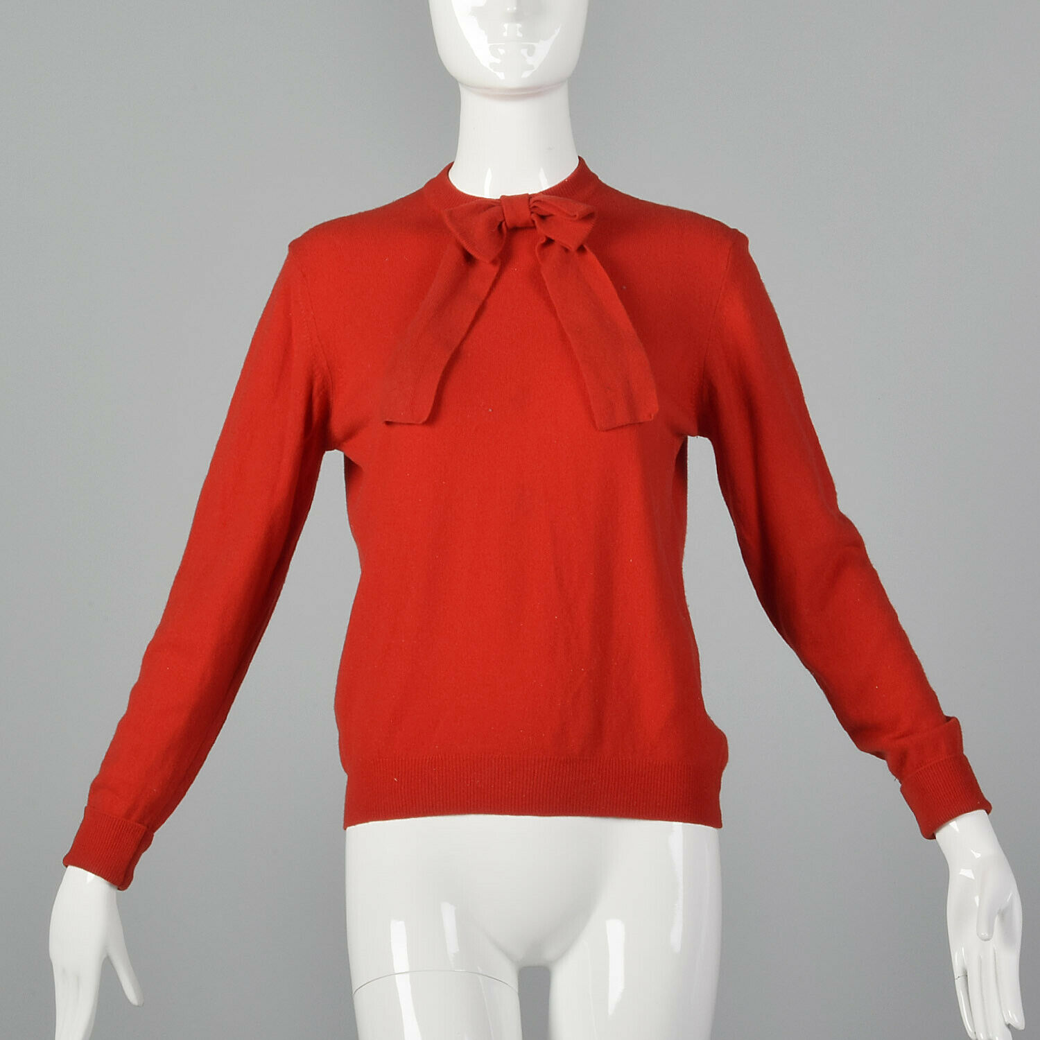 Medium 1960s Knit Sweater Red Bow Front Vintage Long Sleeve Soft Feel Rib Knit