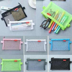 Transparent-Student-Pen-Pencil-Case-Zip-Mesh-Portable-Pouch-Makeup-Bag-Storage-C