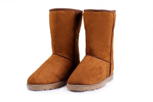 Women Shoe Winter Boots Faux Fur Suede Mid Calf Warm Snow Fashion snow Boot US