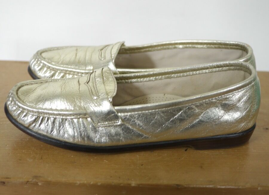 SAS Metallic GOLD Leder Classic Slip On Penny Loafers Comfort Schuhes 9 39.5