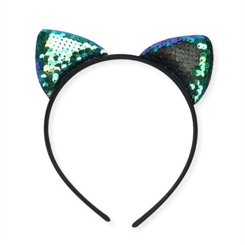 Cat Ear Fancy Ears Dress Headband Satin Hairband Costume Girls Sequin Party