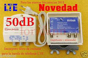 AMPLIFICADOR-ANTENA-Tv-TdT-LTE-MASTIL-50dB-Valido-para-2015-NOVEDAD-Fuente-150mA