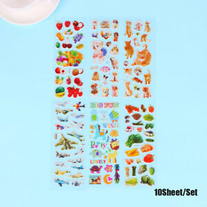 10-Sheets-3D-Puffy-Bubble-Stickers-Cartoon-Princess-cat-Waterpoof-DIY-baby-Toys