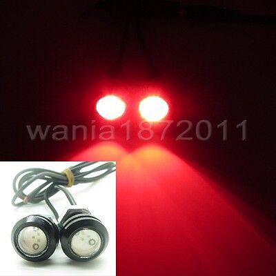 2 x Red DC12V 3W Car Eagle Eye LED Daytime Running DRL Light 18mm Black Case