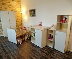 Détails sur Chambre de Bébé Complet Set Lit Convertible Commode, Armoire  Regal Blanc Gravure