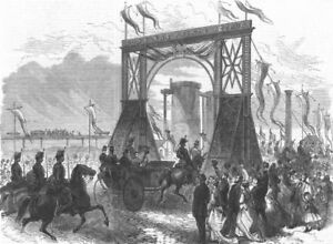 Ponctuel Middlesbrough. Visit Of Prince Arthur To Teeside Ironworks, Antique Print, 1868