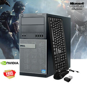 Fast-Dell-Gaming-Computer-PC-Nvidia-Tower-WiFi-Quad-i5-3-1GHz-8GB-500GB-Win-10