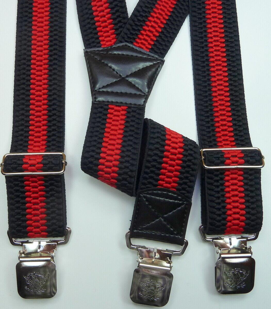 schwarz-roter Hosenträger für Biker,Alligatorclipslclips,115 cm lang,40 mm breit