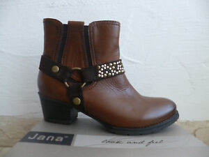quality design aa690 252ea Details about Jana Ankle Boots, Braun, Width H, Lightly Lined Real Leather  25328 New