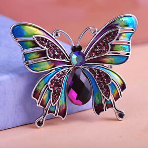 VINTAGE-INSPIRED-RHODIUM-SILVER-PLATED-STATEMENT-PURPLE-BUTTERFLY-BROOCH
