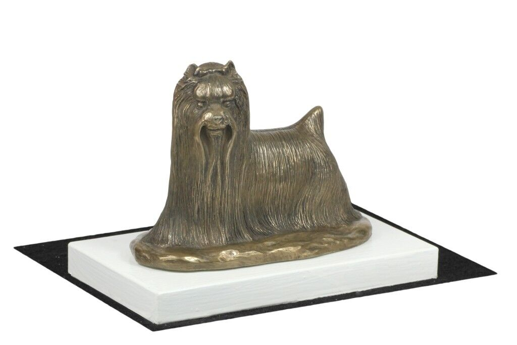 Yorkshire Terrier - figurine made of Bronze on the Weiß wooden base, Art Dog