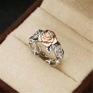 Exquisite-Two-Tone-925-Silver-Floral-14k-Rose-Gold-Flower-Wedding-Jewelry-Ring