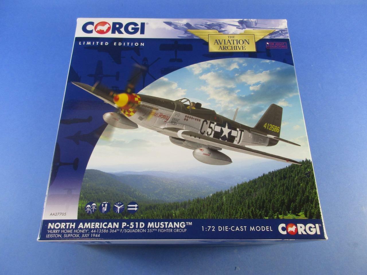 CORGI AVIATION AA27705 NORTH AMERICAN P-51D MUSTANG, 'HURRY HOME HONEY', MIB