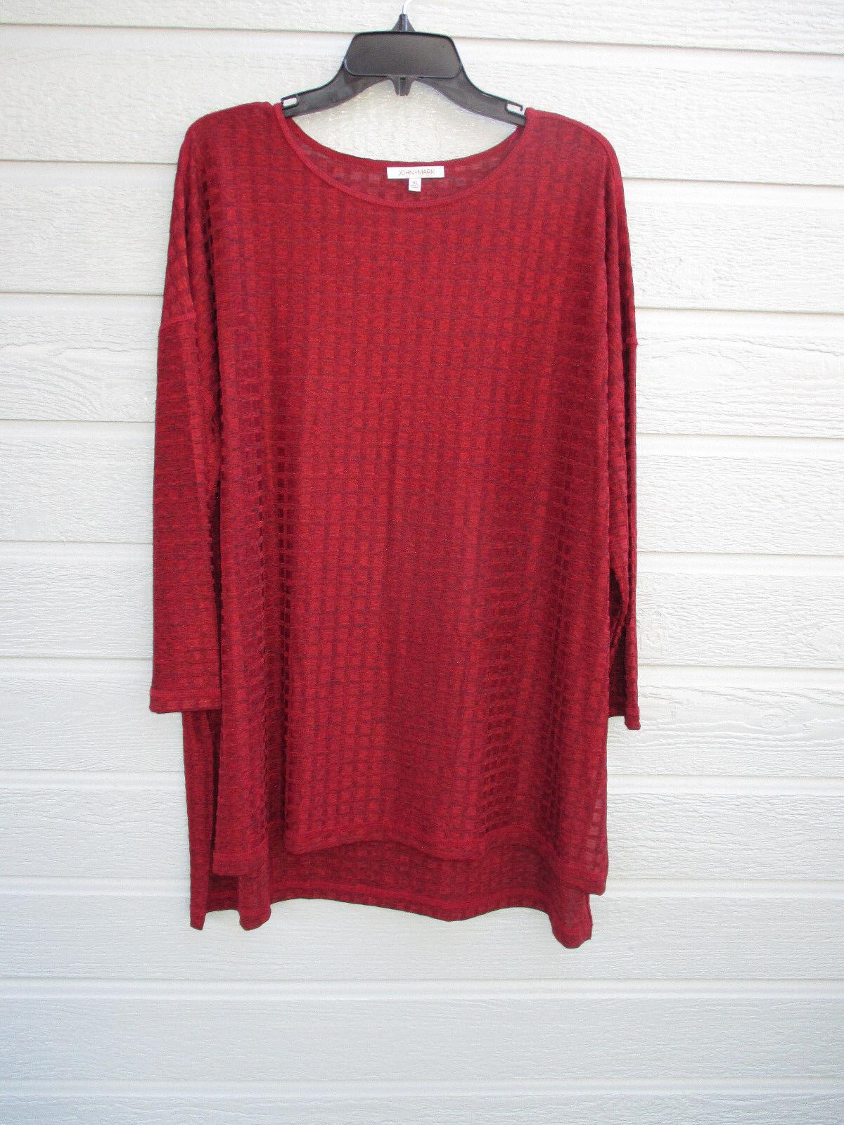 NWT John Mark women's 3 4 sleeve Red semi sheer knit Hi-Lo tunic top SZ XL