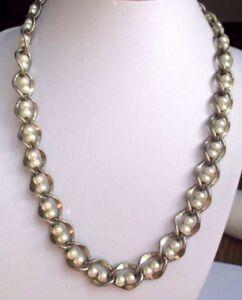 Superbe Collier Chaîne Bijou Vintage Couleur Argent Perles Grises 3031 ImperméAble à L'Eau, RéSistant Aux Chocs Et AntimagnéTique