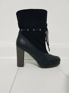 Adidas black leather ankle boots UK