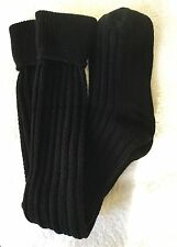 LADIES QUALITY SKI WELLY BLACK BOOT SOCKS CABLE KNIT OVER KNEE MERINO WOOL BLEND