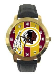 NFL-Washington-Redskins-Womens-Watch-Black-Faux-Leather-Band