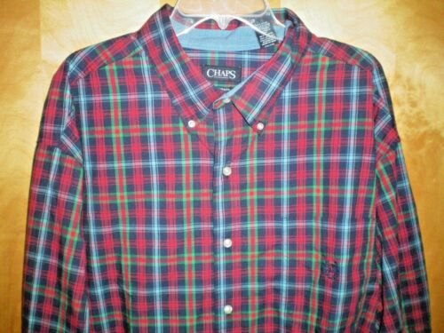 NWT NEW mens red green blue yellow plaid CHAPS l//s easy care casual shirt $60