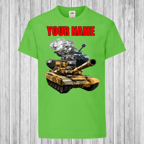 Kids T-Shirt DTG Personalized with name Children History of the Tank