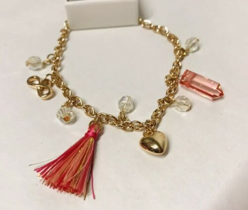 New Justice Pink Tassel Jewelry Bracelet Girls Gift Sparkle