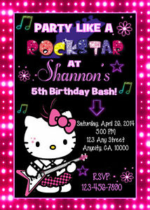 Hello Kitty Rockstar Custom Neon Glow Birthday Party Invitation Ty