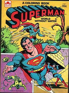 SUPERMAN Coloring Book - WORLD WITHOUT WATER 1980 Golden NM/M | eBay