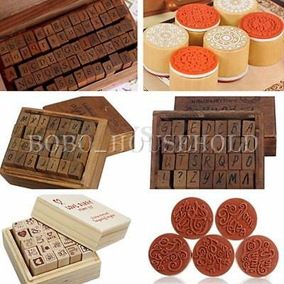 Vintage Rubber Stamps Wooden Box Case Letters Number Wishes Craft Many Styles