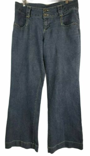 Apt 9 Womens 6 Jeans Wide Leg Dark Wash Stretch De