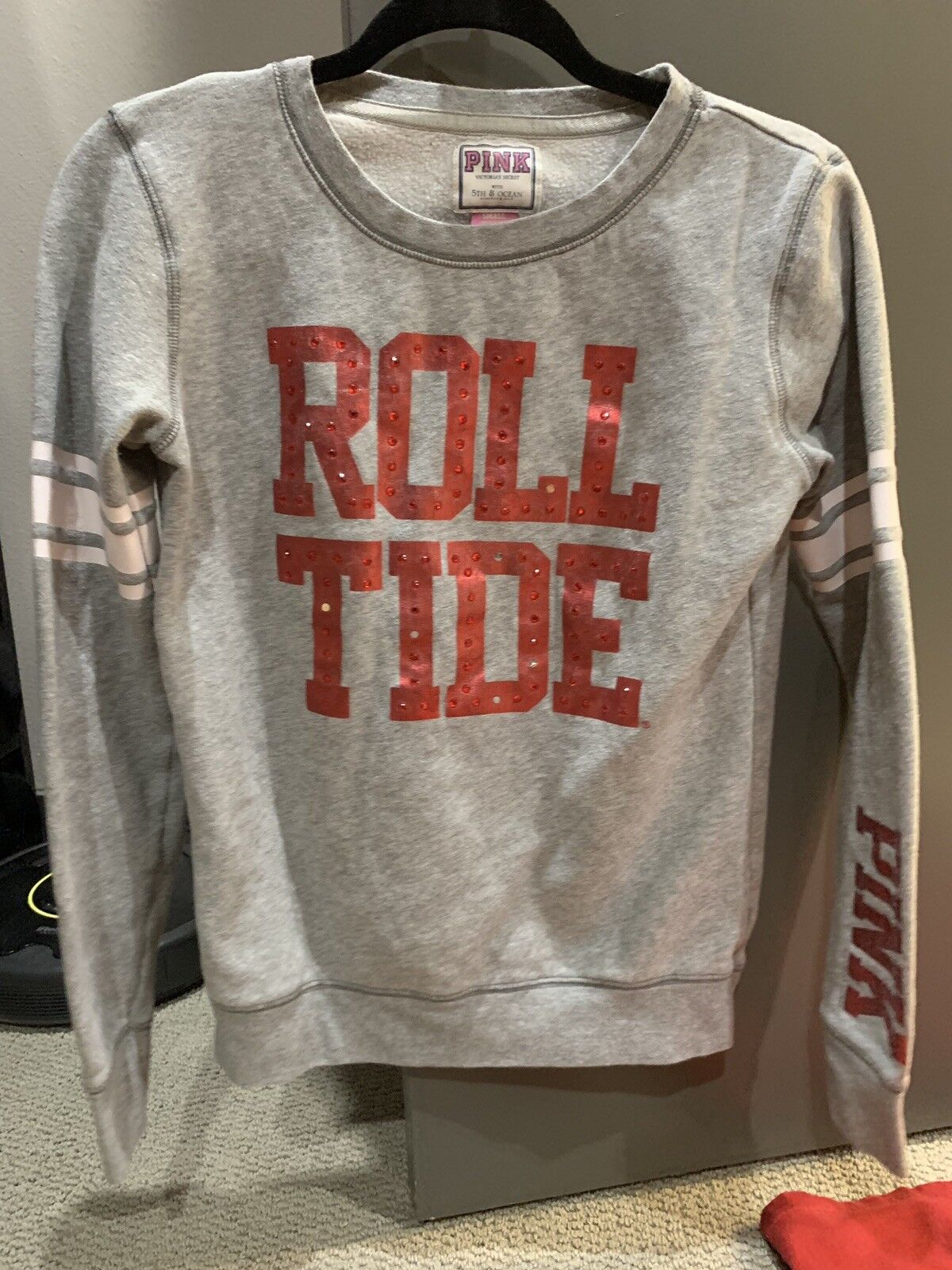 Victoria's Secret PINK Alabama ROLL TIDE Sweatshirt Size Small Grey Red Cute