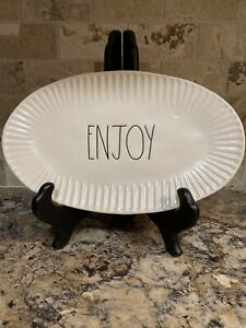 Rae-Dunn-By-Magenta-Small-Platter-Tray-ENJOY-Large-Black-Letters-Brand-New