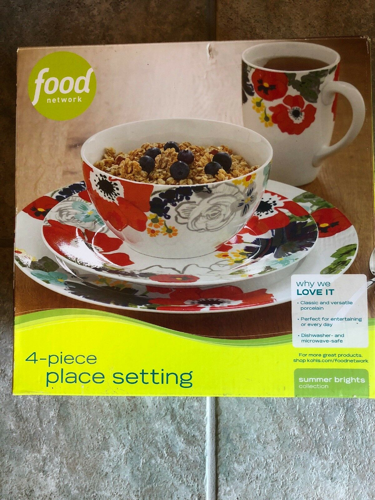 Food Network SUMMER BRIGHTS Classic Porcelain Plate Bowl Mug 4 pc Place Setting