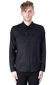 Lip-Service-Kill-City-Mens-Military-Cut-Shirt-Light-Weight-Black-Cotton-Sheer